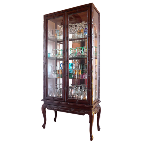 Four shelf Chinese style glass display cabinet with carved bamboo motif and cabriole legs