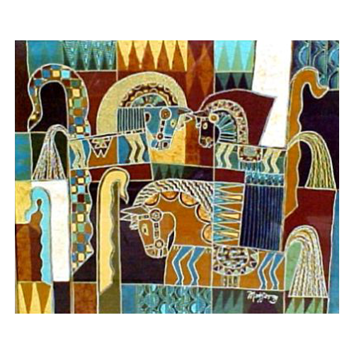 Abstract Batik Tulis painting with horses in green