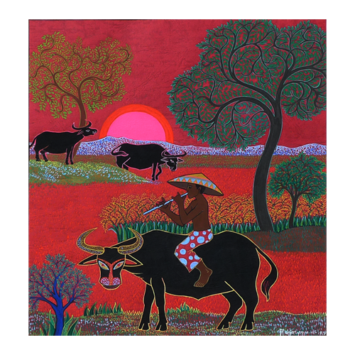 Watercolour of red sun and buffalo in paddy fields