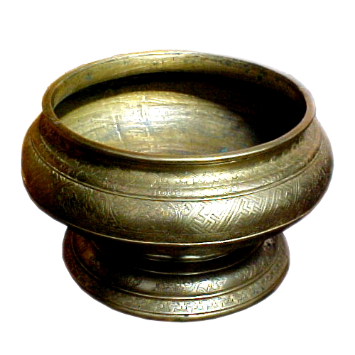 Brass Sirih bowl with swastica motif