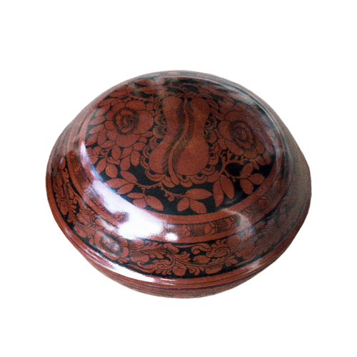 Small red lacquered Palembang wood bowl with lid