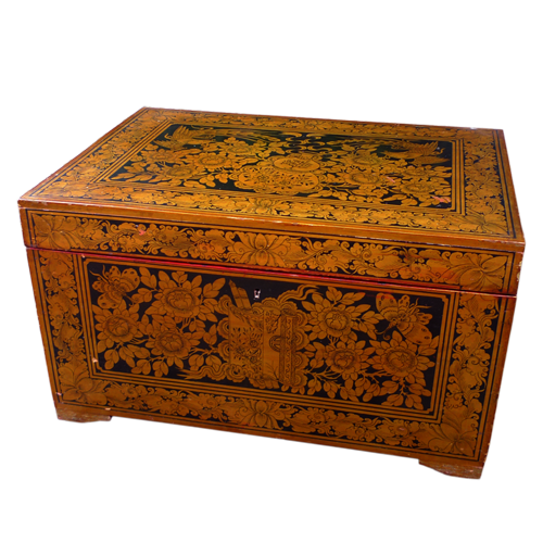 Red lacquered Palembang vanity chest