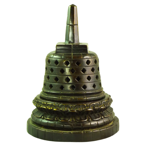 Three piece cast bronze stupa