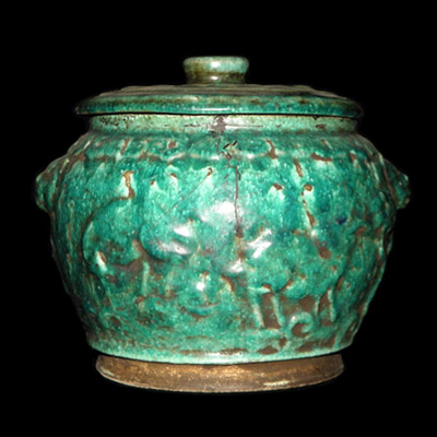Song turquoise glaze jar with lid