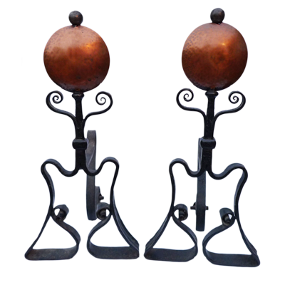 Pair of Art Nouveaux copper and forged iron fire dogs