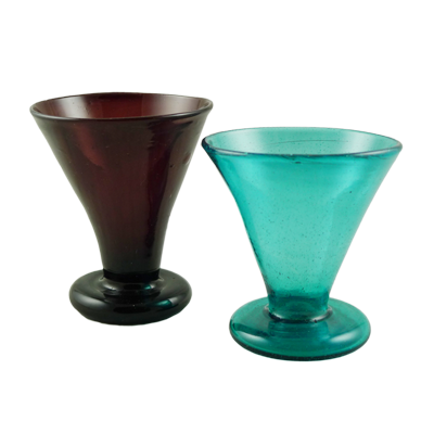 Pair Art Deco free blow wine goblets