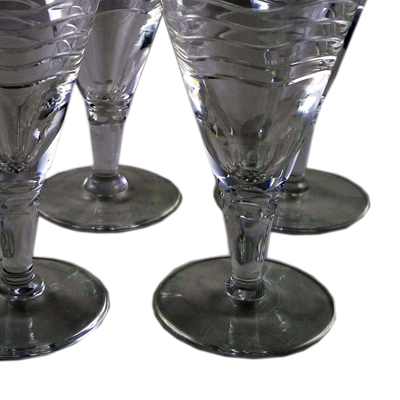 Set of 8 Art Deco wavy crystal cocktail glasses