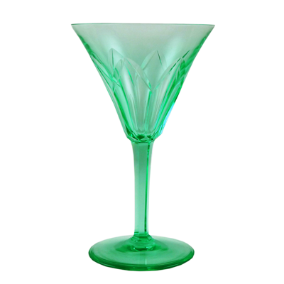 Set of 8 Art Deco green uranium cut-glass crystal cocktail glasses