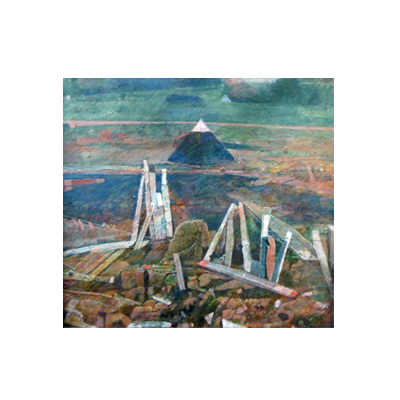 Minature abstract painting depicting a pyramid