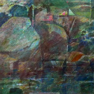 Minature abstract painting of a garden with pool