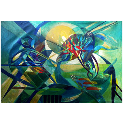 Abstract painting of a cockroach devouring human flesh over the Demerara river