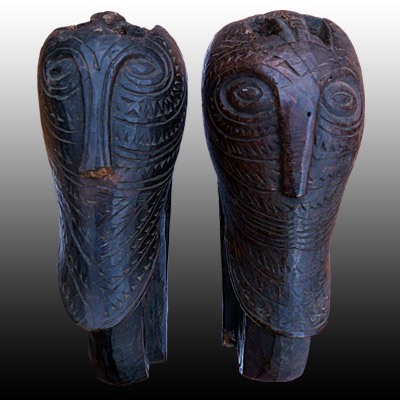 Pair of very fine Singa head ornaments from a Batak Karo bed