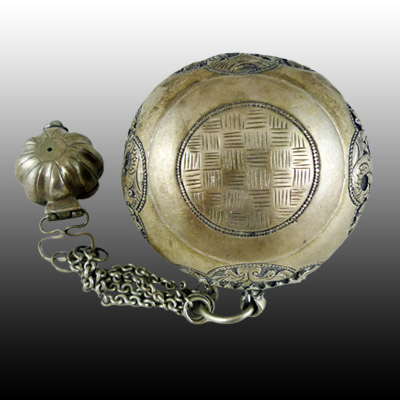 Ornately decorated Minangkabau silver betel nut and lime container set