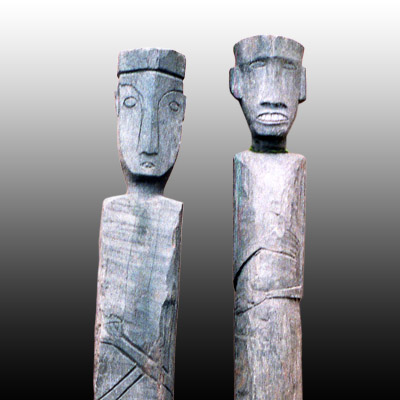 Pair of Kalimantan grave posts of slender form