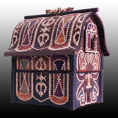 Lombok palm dowry box decorated with cowrie shells