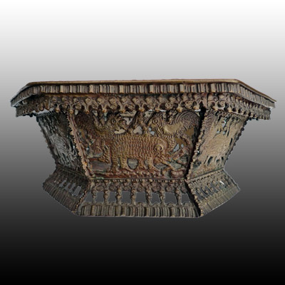 Minangkabau bronze bowl cast and adorned with elephants, hens and clove spice kernals