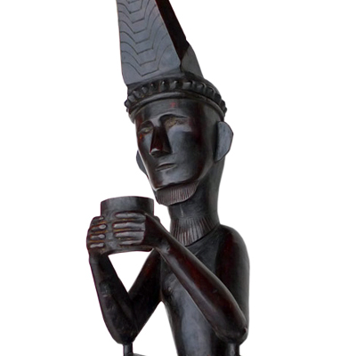 Nias wooden male ancestor figure or Adu Zatua