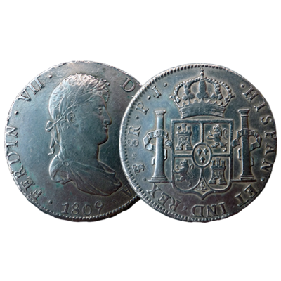 Spanish Colonial 8 Reales silver coin dated 1809