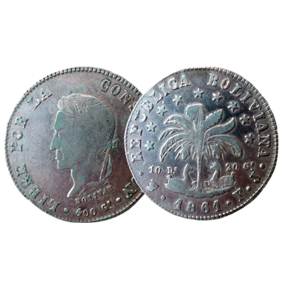 Bolivian 8 Soles silver coin dated 1861