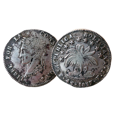 Bolivian 4 Soles silver coin dated 1857