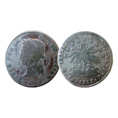 Bolivian 2 Soles silver coin dated 1857