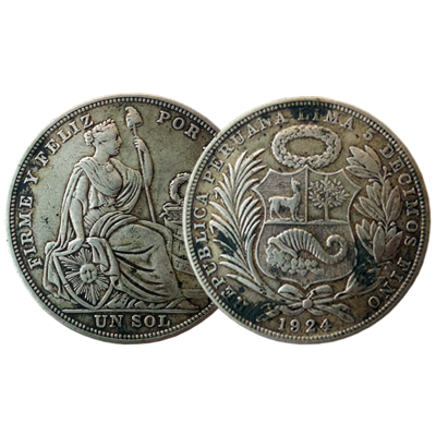 Peruvian 1 Sol silver coin dated 1924
