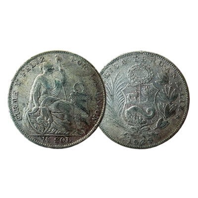 Peruvian 1/2 Sol silver coin dated 1929