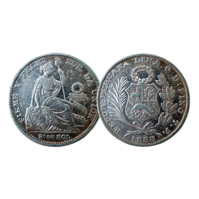 Peruvian 1/5 Sol silver coin dated 1888