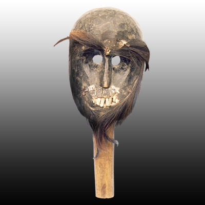 Horific Timor mask with hair and human teeth