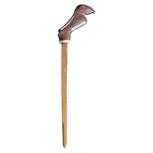 Iban sword stick with bird head handle