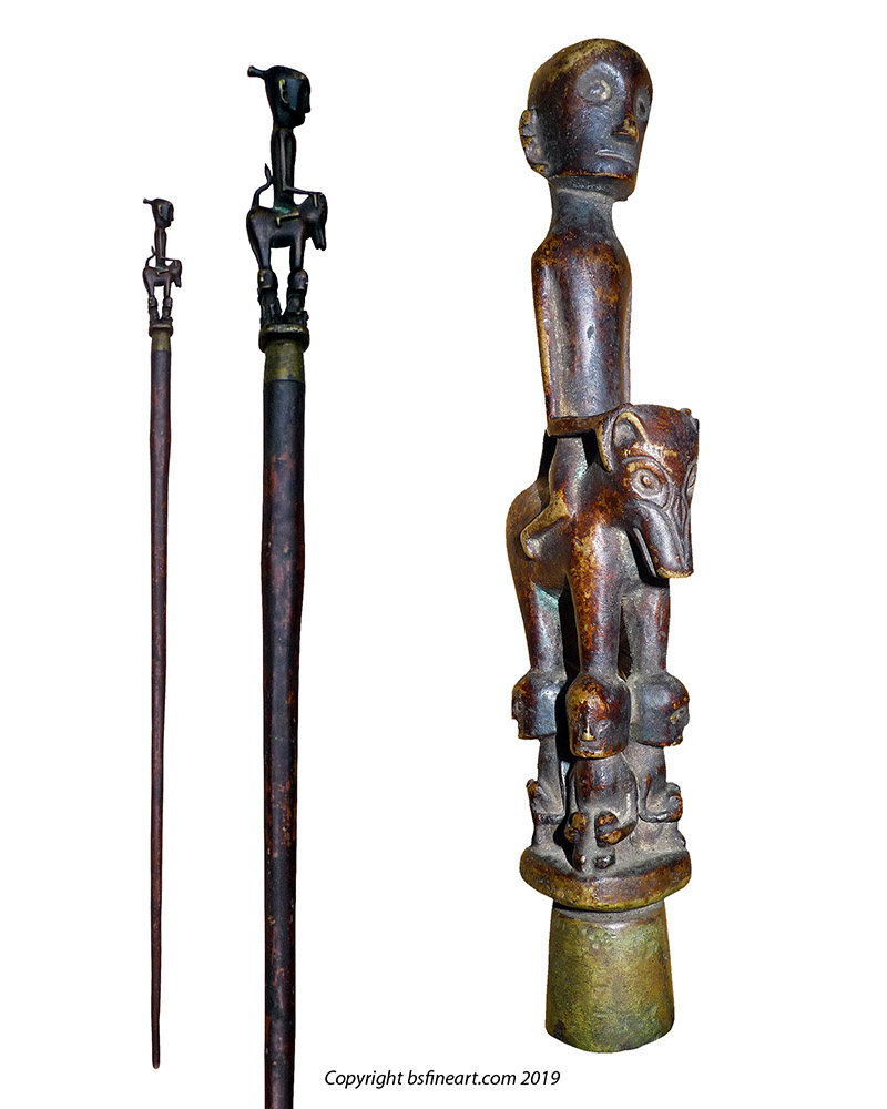 Batak riitual staff or Tungkot Malehat with bronze finial