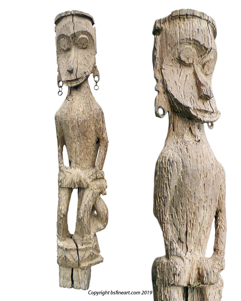 Impressive Dayak Modang village guardian figure or Hampatong in the form of a monkey