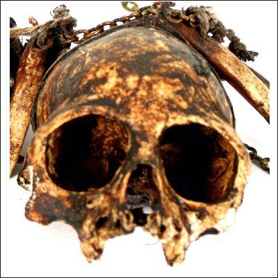 Dayak ritual garland with monkey skull